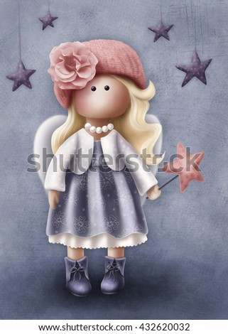 Illustration of a little angel girl - stock photo