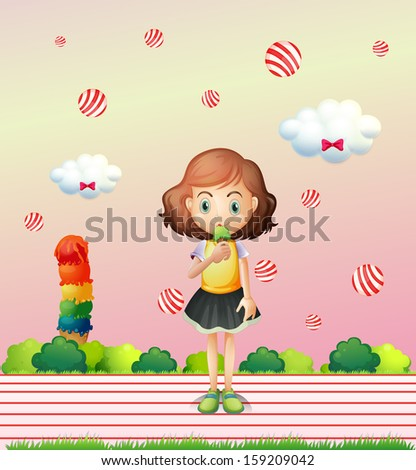 Illustration of a little child eating an icecream - stock photo