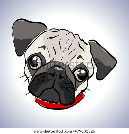 Illustration of a little dog. Character sad pug. Muzzle unhappy pooch. lonely doggy with sad eyes.