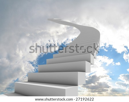 Illustration of a long, winding stairway leading to the clouds. Could represent a career, success, a journey, or going to heaven. - stock photo