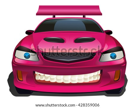 illustration of a luxury red car on isolated white background - stock photo