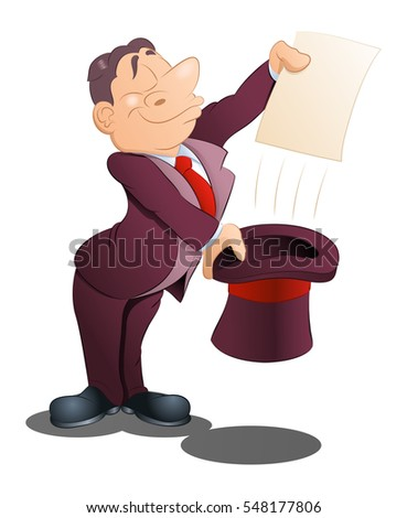 illustration of a magician wear tuxedo hold blank paper on isolated white background