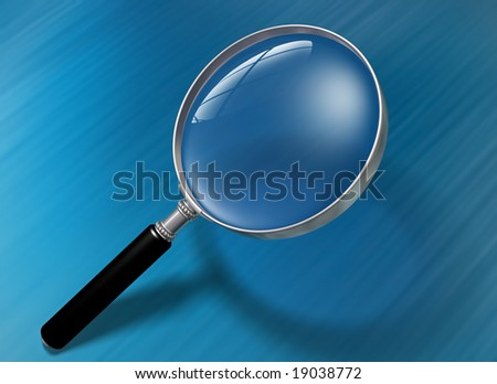 Illustration of a magnifying glass over a blue background