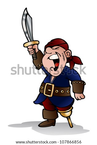 illustration of a male pirate hold sword ready to attack on isolated white background - stock photo