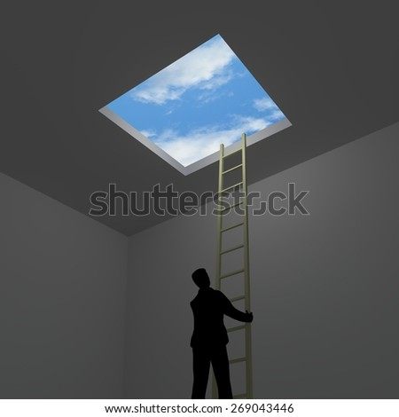 Illustration of a man escaping from a room to the outside - stock photo