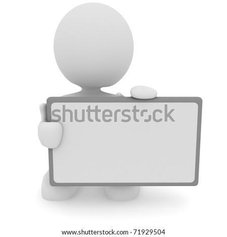 Illustration of a man holding a blank billboard.  Part of my cute 3D character series. - stock photo