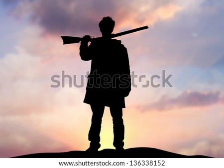 Illustration of a man holding a rifle standing on an horizon - stock photo