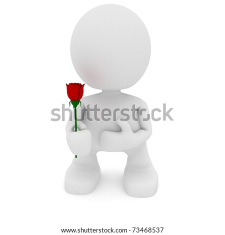 Illustration of a man holding a rose in his hands.  Part of my cute little people series.