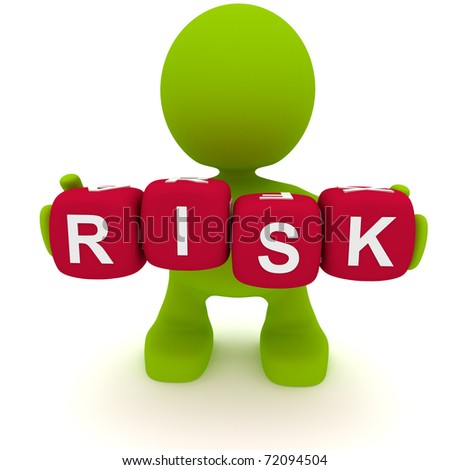 Illustration of a man holding blocks spelling the word Risk.  Part of my cute green man series. - stock photo