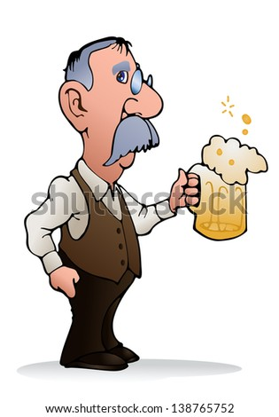 illustration of a man holding glass full of beer on isolated white background - stock photo