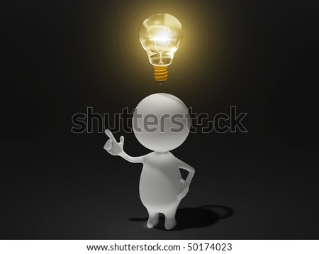Illustration of a man invents a new idea or creates a new thought. - stock photo