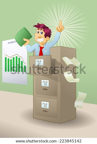 illustration of a man look for files on file cabinet - stock photo