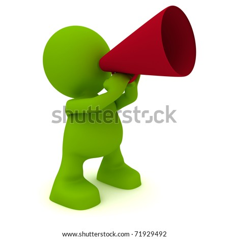 Illustration of a man talking through a megaphone.  Part of my cute green man series. - stock photo