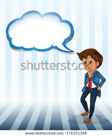 Illustration of a man thinking with an empty callout on a white background - stock photo