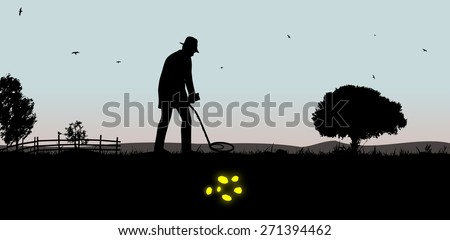 Illustration of a man using a metal detector to find gold - stock photo