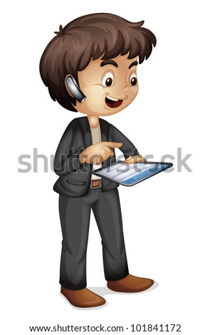 Illustration of a man using communication tools - EPS VECTOR format also available in my portfolio.