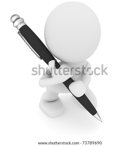 Illustration of a man with a large pen.  Part of my cute green man series. - stock photo