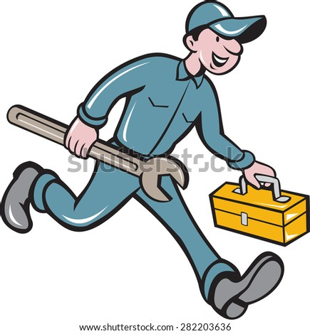 Illustration of a mechanic carrying spanner wrench andtoolbox running viewed from the side set on isolated white background done in cartoon style. - stock photo