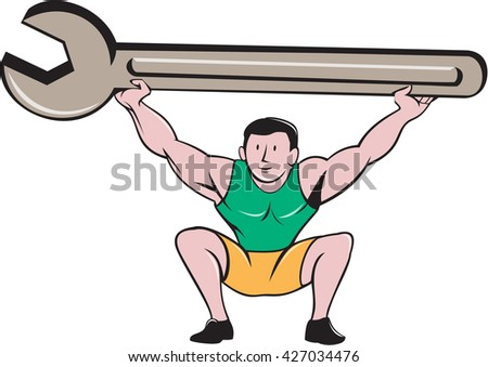 Illustration of a mechanic lifting giant spanner wrench over head and knees bent viewed from front set on isolated white background done in cartoon style.  - stock photo