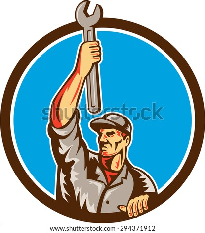 Illustration of a mechanic lifting raising up spanner wrench looking to the side set inside circle on isolated background done in retro style.  - stock photo