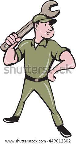 Illustration of a mechanic standing wielding holding spanner wrench looking to the side viewed from front set on isolated white background done in cartoon style.  - stock photo
