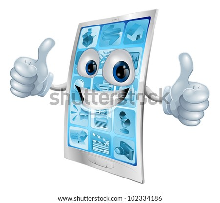 Illustration of a mobile phone mascot character doing a double thumbs up gesture
