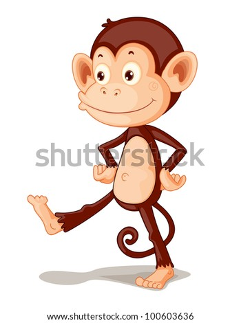 Illustration of a monkey on white - EPS VECTOR format also available in my portfolio. - stock photo