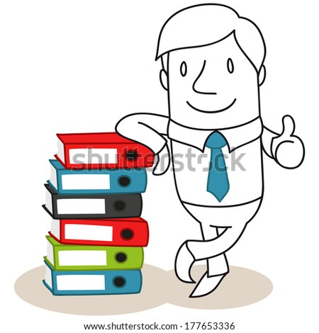 Illustration of a monochrome cartoon character: Friendly looking businessman leaning against a stack of colorful binders giving the thumbs up
