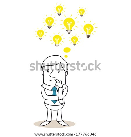 Illustration of a monochrome cartoon character: Pondering businessman with several light bulbs having ideas - stock photo