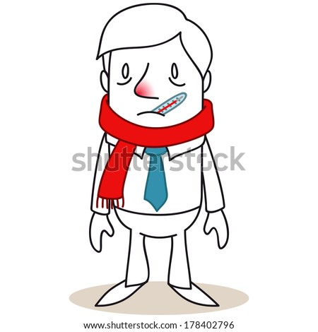 Illustration of a monochrome cartoon character: Sick businessman with scarf and thermometer. - stock photo