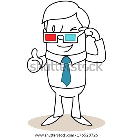 Illustration of a monochrome cartoon character: Winking man pulling down his 3D glasses giving thumbs up (vector also available).