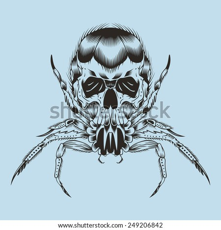 Illustration of a monster. Spider with skull. - stock photo
