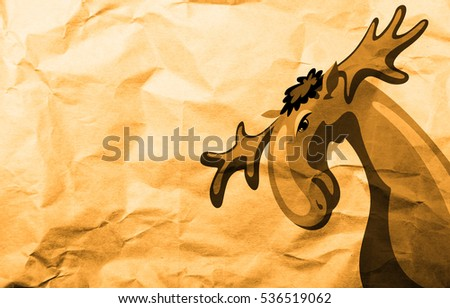 Illustration of a moose on crumpled paper. Illustration