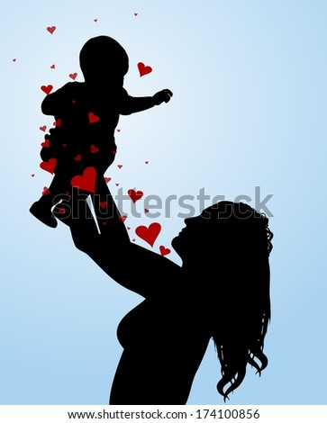 Illustration of a mother holding her baby in the air, with love hearts - stock photo