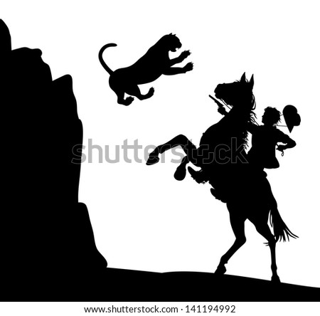 Illustration of a mountain lion jumping down at a cowboy on horseback