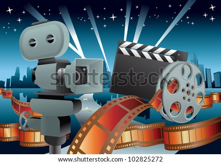 illustration of a movie items on city landscape background - stock photo