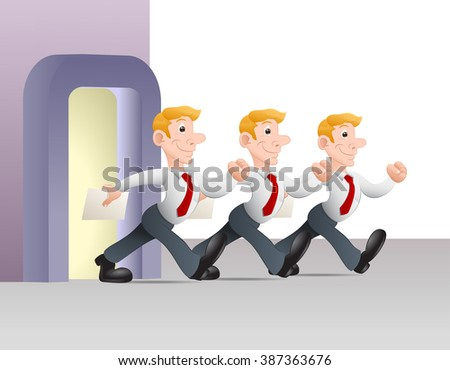illustration of a multiplying businessman hold white blank paper in isolated white background - stock photo