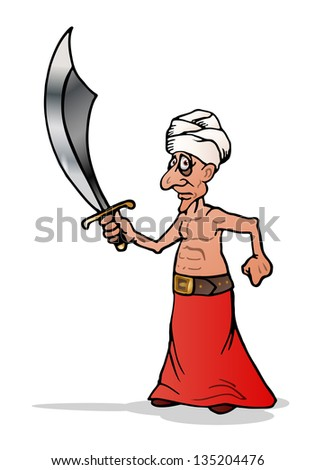 illustration of a muscular man in Arab costume with a big sword on isolated white background - stock photo
