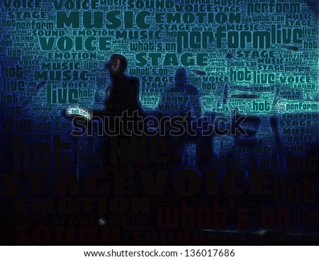 Illustration of a musical group performing at a concert, made of backlight silhouettes and composed of words, referring to concepts such as music, nightlife, as well as entertainment in general