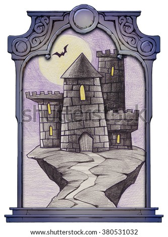 Illustration of a mysterious cartoon castle framed with a stone decorated hand drawn arch - stock photo