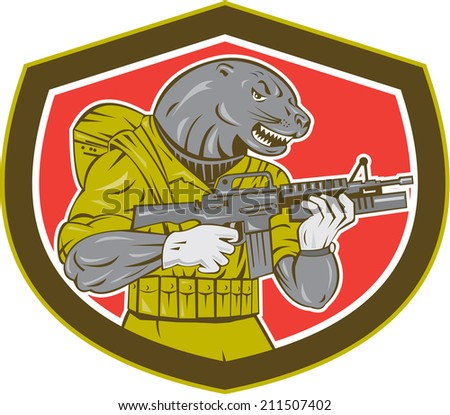 Illustration of a navy seal holding an armalite rifle with greanade launcher set inside shield shape. - stock photo