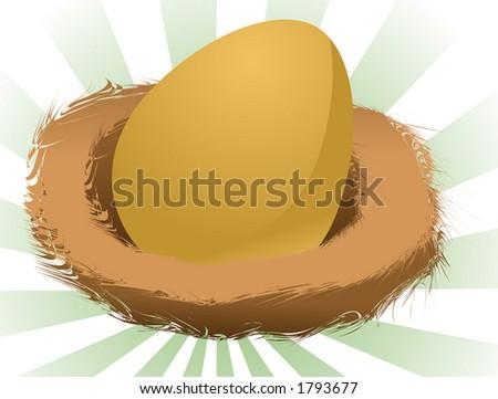 Illustration of a nest egg, golden egg in a nest - stock photo
