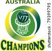 illustration of a netball ball and net hoop with words Australia Champions - stock vector
