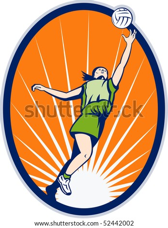 illustration of a netball player rebounding jumping for ball set inside an oval with sunburst in background