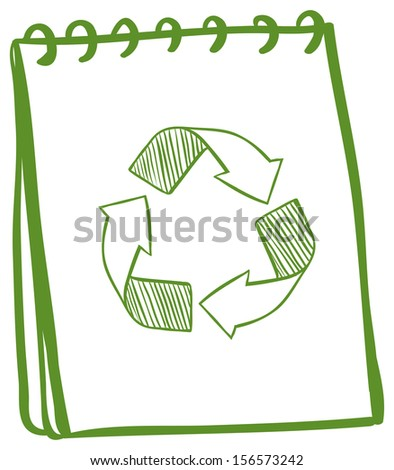Illustration of a notebook showing the recycle signs on a white background - stock photo