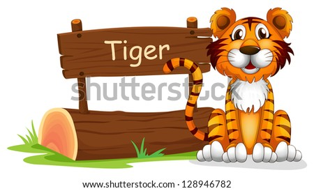 Illustration of a notice board and a smiling tiger on a white background