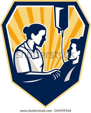 Illustration of a nurse tending a sick patient in bed with iv intravenous drip in background set inside shield crest done in retro style.