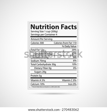 Illustration of a nutrition label isolated on a white background. - stock photo