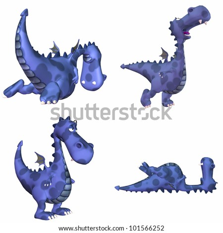Illustration of a pack of four (4) blue dragons with different poses and expressions isolated on a white background - 1of3 - stock photo