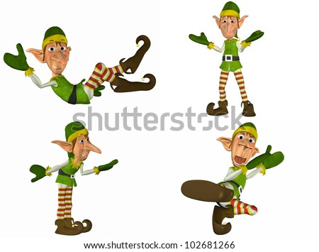Illustration of a pack of four (4) christmas elves with different poses and expressions isolated on a white background - 1of2
